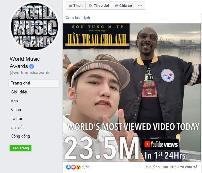 Kỷ lục bài hát mới của Sơn Tùng được World Music Awards giới thiệu trên fanpage.