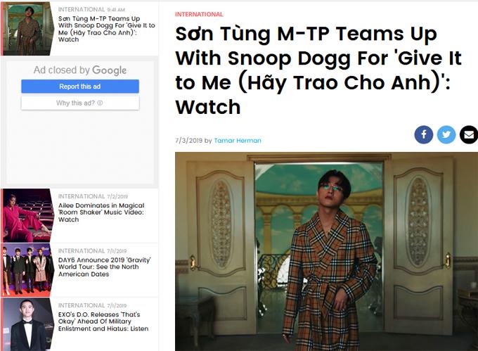 Bài viết về Sơn Tùng trên tạp chí Billboard.