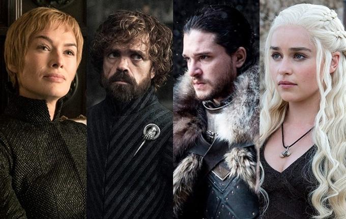 Từ trái qua: hoàng hậu Cersei, quỷ lùn Tyrion, Jon Snow, mẹ rồng Daenerys là bốn nhân vật quan trọng của cuộc chiến vương quyền.