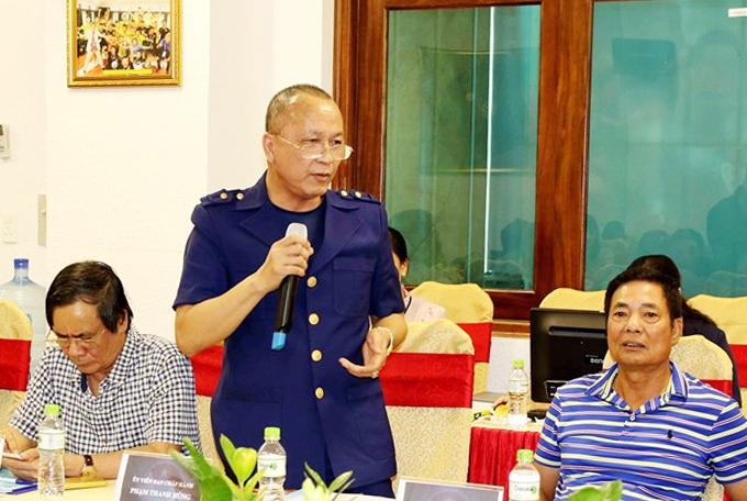 Tân Trưởng ban bóng đá nữ VFFPhạm Thanh Hùng phát biểu.