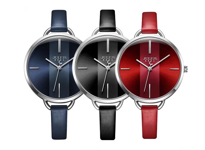 Đồng hồ nữ dây da Hàn Quốc JA-1122 có 3 màu đỏ, xanh đen và đen cho bạn lựa chọn, giá giảm từ 969.000 đồng còn 619.000 đồng.