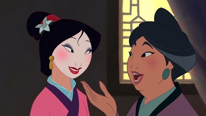 Hoa Mộc Lan trong bản phim hoạt hình cũng được vẽ mặt trắng.