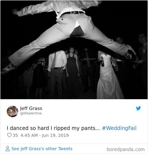 Chú rể Jeff Grass cũng có trải nghiệm rách quần khi nhảy trong đám cưới.
