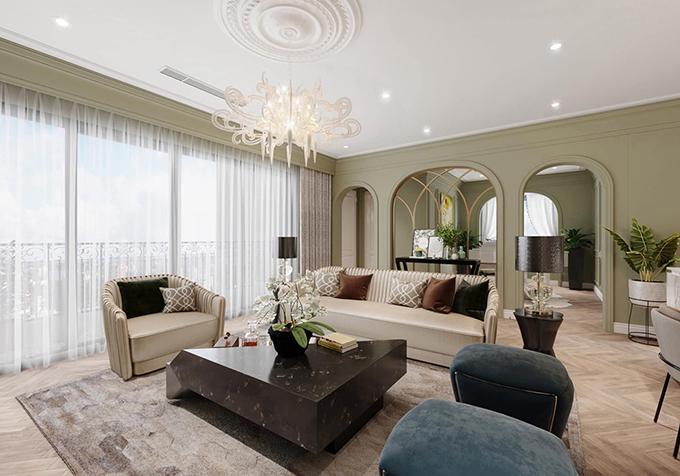 Hình ảnh 3D nội thất của phòng khách trong nhà mới của Mạnh Trường.