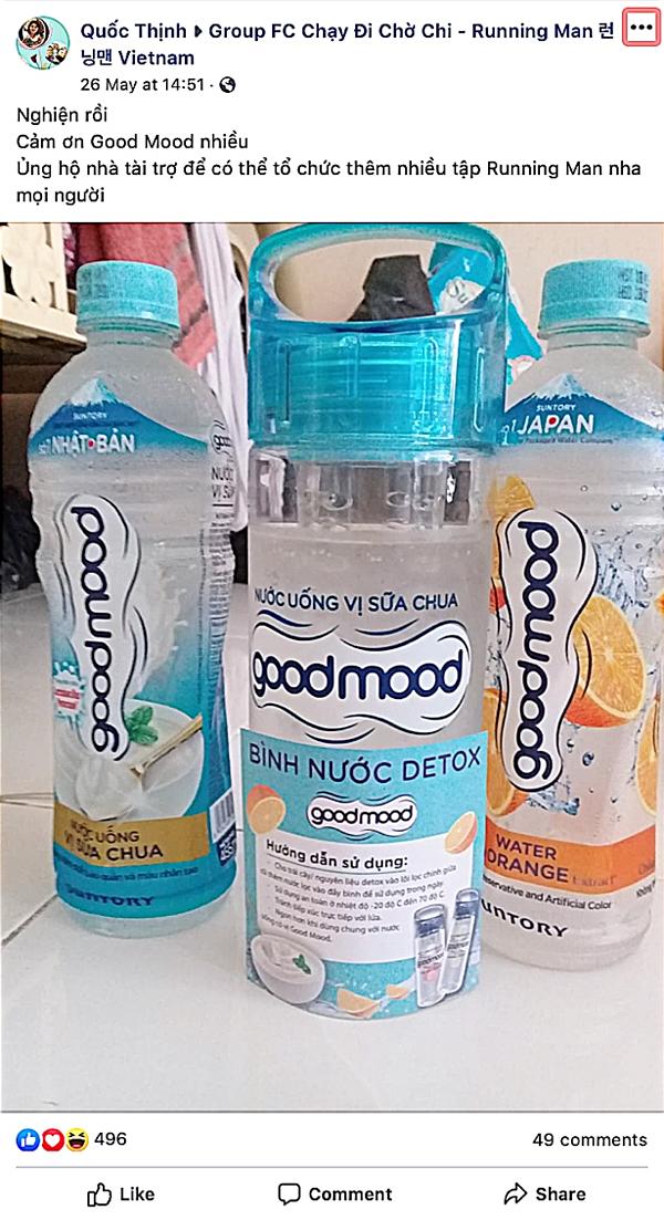 Thậm chí các nhóm fans kín còn nhanh chóng phát hiện ra được nước uống có vị sữa chua - Good Mood là nhà tài trợ của Chạy đi chờ chi.