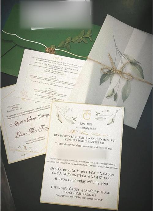 Thiệp cưới của Cường Đô La - Đàm Thu Trang.
