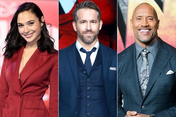 Từ trái sang: Gal Gadot, Ryan Reynolds và Dwayne The Rock Johnson cùng đóng chính phim Red Notice.