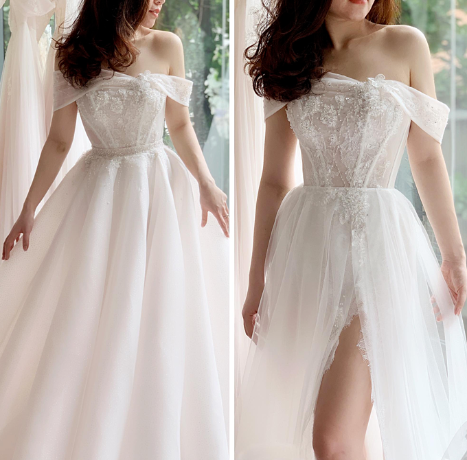 Là tác giả của những thiết kế váy cưới thời thượng, bà tiên váy cưới Phương Linh cho rằng chiếc váy giúp cô dâu có thể nhanh chóng thay đổi phong cách này là rất đáng để dốc hầu bao. Ngay cả các cô dâu nổi tiếng thế giới nhưKatherine Schwarzenegger cũng phải lòng phong cách váy cưới này.