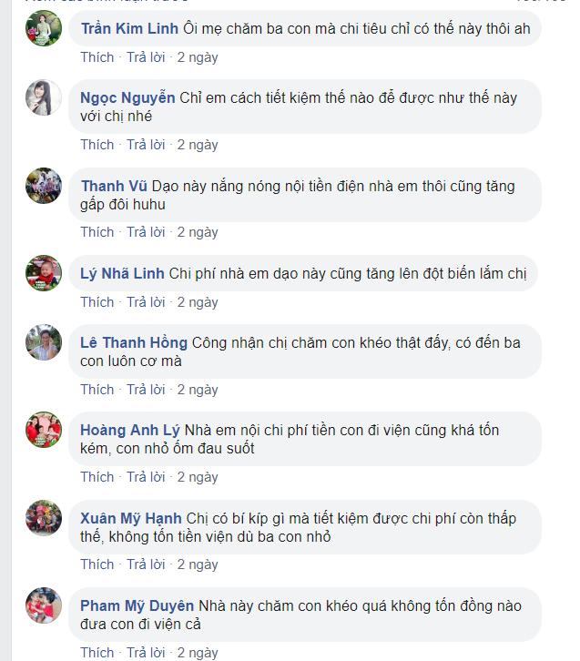 Nhiều bà mẹ bình luận trước dòng trạng thái của chị Nguyễn Hà chia sẻ.