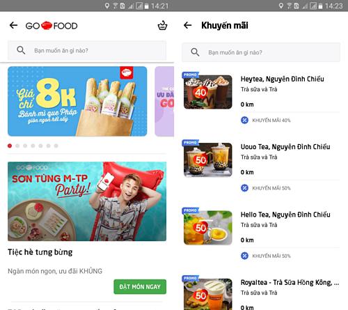 Sơn Tùng M-TP Party sẽ xuất hiện khi người dùng chọn dịch vụ Go-Foodtrên ứng dụng Go-Viet.