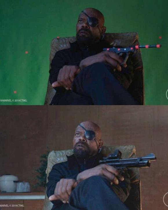Ngay cả cảnh phim Nick Fury (Samuel Jackson đóng) tới gặp Peter Parker lần đầu cũng quay vô cùng thô sơ trong phim trường. Phòng khách sạn không có thật, cây súng trên tay Nick cũng chỉ là mô hình đơn giản.