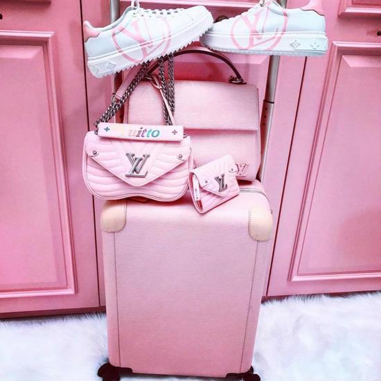 Ngọc Trinh không ngừng mua cho mình những món hàng hiệu đắt đỏ, trong đó không thể thiếu các kiểu túi xách màu hồng.
