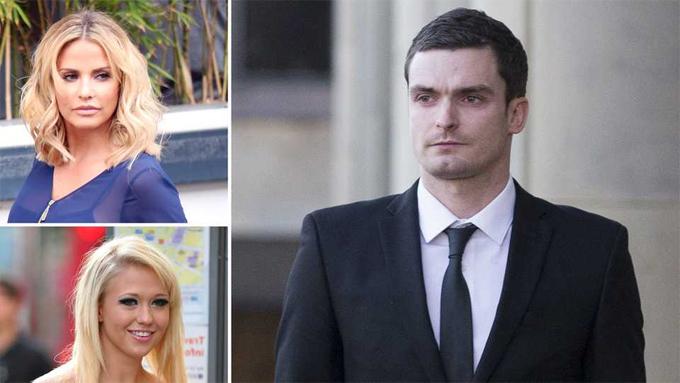 Sau khi thắng đấu giá bữa tối với Katie Price (góc trên cùng bên trái), Adam Johnson bị bạn gái lúc đó là Sophie Reade