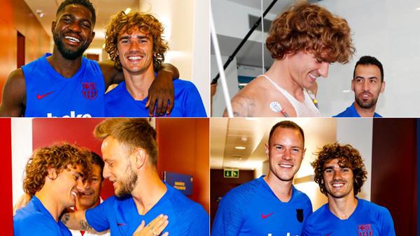 Trong ngày gặp đồng đội mới, Griezmann được chào đón nồng ấm, trái ngược với thông tin trước đó cho rằng các cầu thủ Barca không thích tân binh người Pháp.