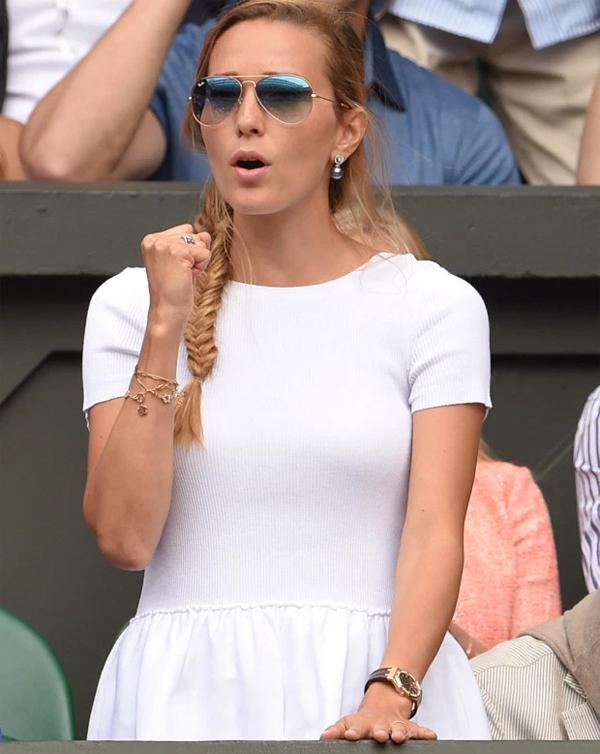Jelena Ristic thường xuyên tới sân cổ vũ chồng nhưng vắng mặt trên khán đài Australia mở rộng đầu năm nay và Wimbledon vừa qua. Ảnh: Sun.