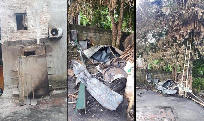 Hiện trường ngôi nhà bị cháy của bà nội Bùi Tiến Dũng. Ảnh: Lan Lê.