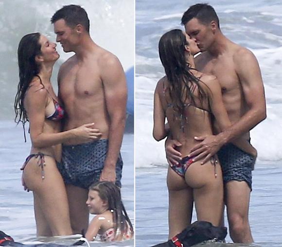 Siêu mẫu Brazil và ông xã âu yếm trên bãi biển vắng vẻ, bên cạnh là con gái nhỏ 4 tuổi.
