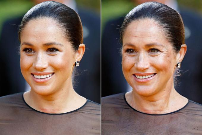 Nữ công tước xứ Sussex có thể sẽ có làn da tối màu, nhiều tàn nhang và nếp nhăn quanh mắt hơn khi tới tuổi ngoài ngũ tuần.