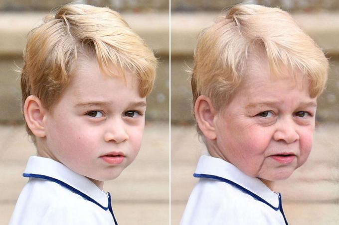 Nhân vật gây bất ngờ nhất khi về già được fan chế ảnh là Hoàng tử George vì cậu bé còn quá nhỏ tuổi. Theo người hâm mộ, George sẽ có đôi má hơi xệ xuống, giống hệt Nữ hoàng Elizabeth II.