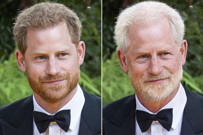 Hoàng tử Harry không mấy khác biệt sau tuổi 60, chỉ trừ mái tóc và bộ râu chuyển màu bạc trắng.