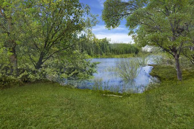 Bên cạnh căn biệt thự có không gian thiên nhiên trong lành, hồ nước tự nhiên.