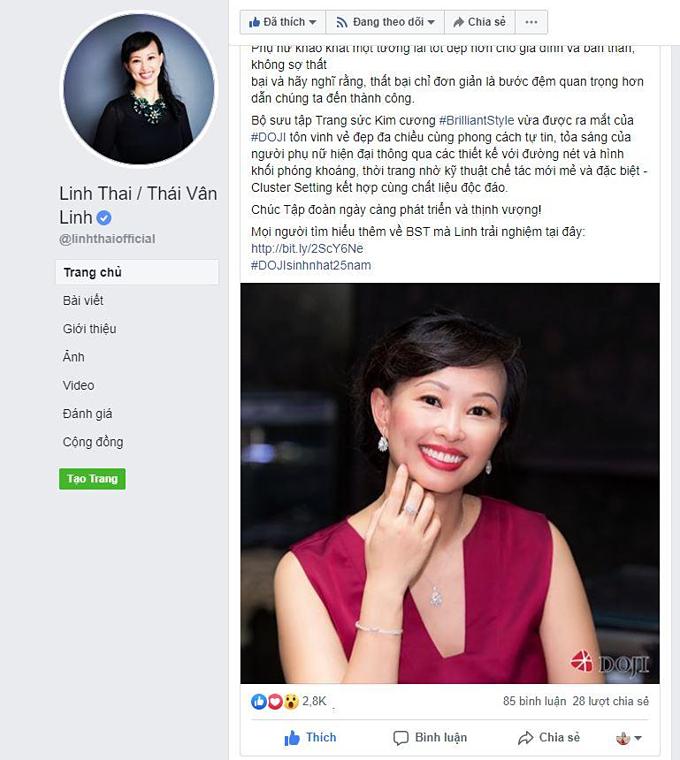 Bài viết của nữ Shark Tank nhận được hàng nghìn lượt thích và nhiều bình luận. Trong hình nữ doanh nhân xuất hiện trong bộ đầm sắc hồng tím sang trọng, đeo trọn bộ nữ trang kim cương khuyên tai, lắc tay, nhẫn và dây cổ. Cô cho biết, đây là một trong những mẫu trang sức thuộc bộ sưu tập vừa ra mắt của DOJI nhân dịp 25 năm thành lập.