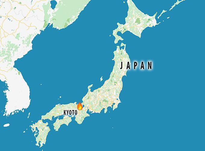 Thành phố Uji, tỉnh Kyoto - địa điểm xảy ra đám cháy - trên bản đồ nước Nhật Bản. Đồ họa: JT.