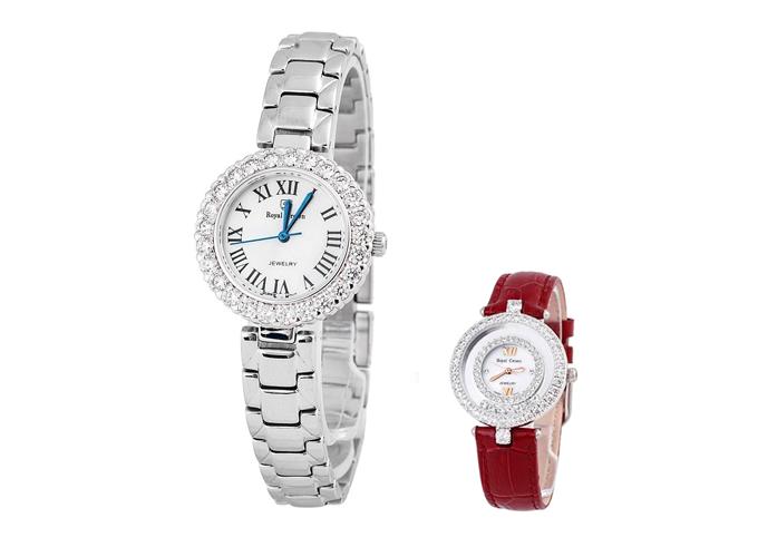 Mẫu đồng hồ Royal Crown 6305 dây thép cũng được giảm còn 1,449 triệu, tặng đồng hồ Tateossian.