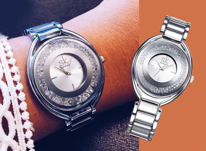 Đồng hồ Shengke Korea K0016L-01 từ dây thép không gỉ, giảm 50% chỉ còn 1,299 triệu đồng (giá gốc 2,599 triệu đồng), tặng đồng hồ Led.