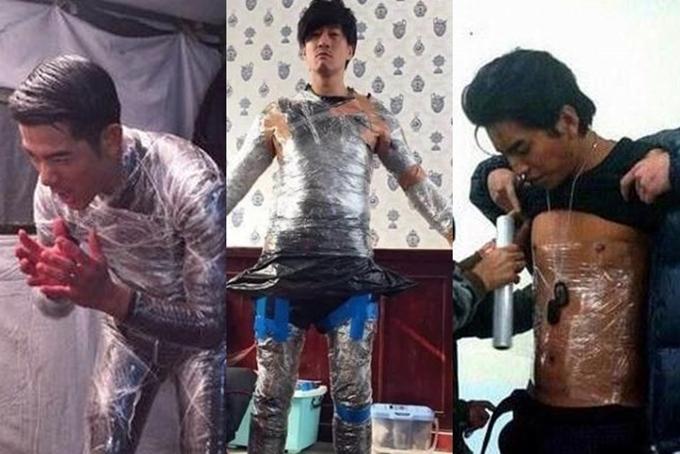 Để giữ ấmkhi quay phim vào mùa đông, Quách Phú Thành, Hà Nhuận Đông, Vương Đại Lục (từ trái qua) đều bọc kín cơ thể bằng một lớp băng dính bên trong quần áo. Tuy nhiên, cách làm này không quá hiệu quả.