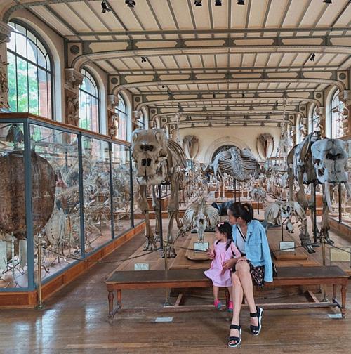 Tăng Thanh Hà cùng con gái thăm viện bảo tàng.