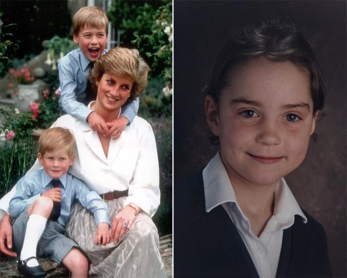 Hoàng tử William (đứng ôm cổ Công nương Diana) và Kate Middleton (phải) khi 6 tuổi. Ảnh: UK Press.