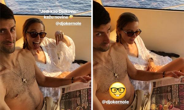 Vợ chồng Djokovic nhí nhảnh trong kỳ nghỉ ở Croatia.