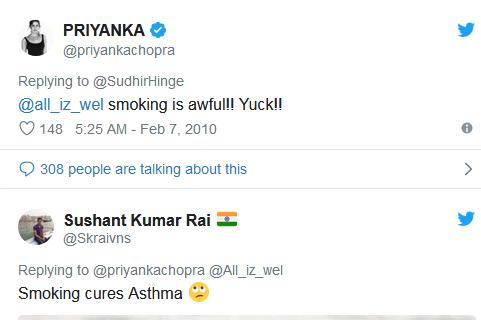 Người dùng mạng chế nhạo Priyanka khi thấy cô hút thuốc.