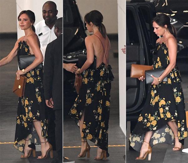 Diện bộ váy mang đậm hơi thở mùa hè, Vic gây thiện cảm khi mỉm cười dịu dàng lúc bước ra xe.