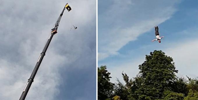 Người đàn ông 39 tuổi rơi thẳng xuống đệm phao vì bị đứt dây trong lúc nhảy bungee ở thành phố Gdynia, Ba Lan hôm 21/7. Ảnh cắt từ video.