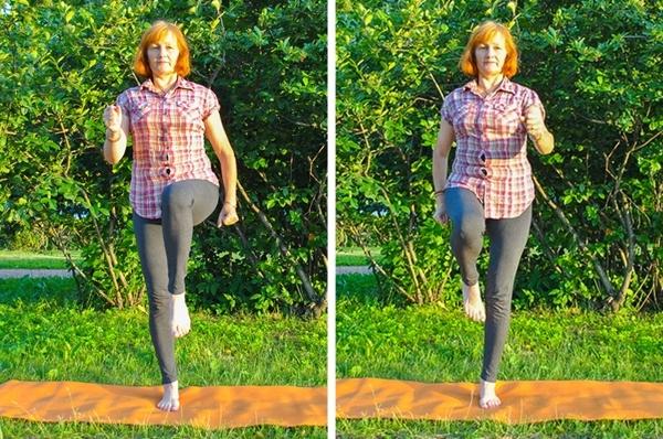 Đứng thẳng, rút gối lần lượt từng chân mỗi bên 20 lần.