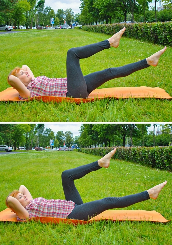 Nằm ngửa, hai tay để sau gáy, nâng cao đầu và hai chân, rút gối nhanh 20 lần mỗi bên.