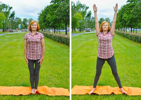 Đứng thẳng, hai chân chụm, hai tay duỗi dọc theo thân. Bật nhảy mở rộng hai chân, hai tay đưa thẳng lên cao 20 lần.