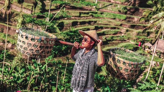 Nguyên Khang thử trải nghiệm làm nông dân ở ruộng bậc thang Tegalalang ở Ubud.