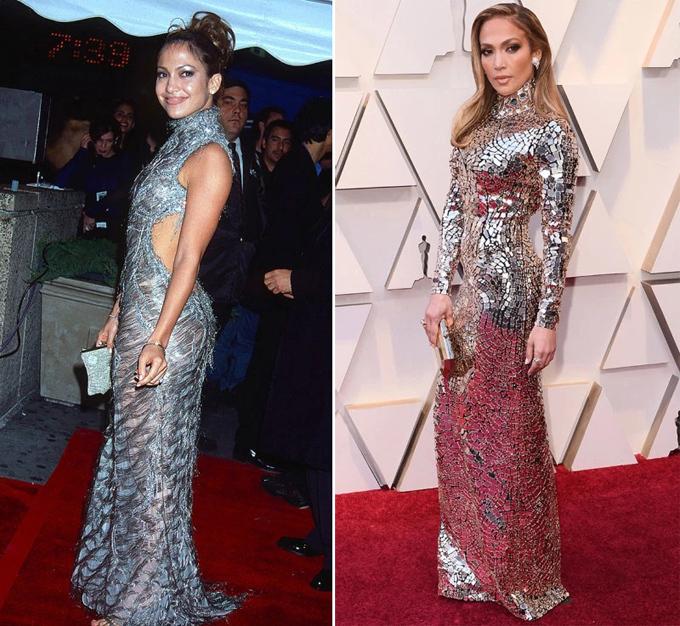 Đã trải qua một lần sinh nở với hai con song sinh nhưng Jennifer gần như không thay đổi về sắc vóc. Bởi vậy, cô tự tin diện mẫu đầm ánh bạc khoe đường cong ở Lễ trao giải Oscar 2019 (phải), gợi liên tưởng tới hình ảnh của cô tại VH1 Fashion Awards 1998.