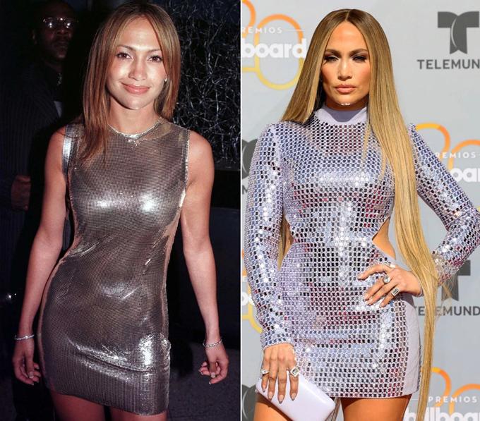 Váy bodycon ánh bạc ở Latin Billboard Music Awards hồi tháng 4 (phải) dường như được lấy cảm hứng từ thiết kế cô mặc năm 1999.