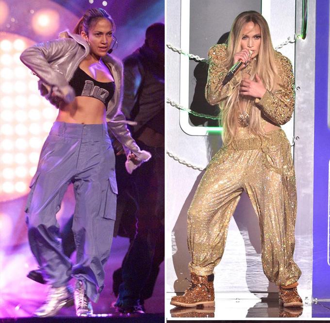 Jennifer Lopez năm 31 tuổi (trái) hay 49 tuổi đều thi thoảng đổi gió với phong cách hip-hop cá tính.