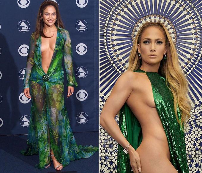 Bộ cánh của ngôi sao Mỹ ở Grammy 2000 (trái) trở thành một trong những hình ảnh táo bạo nhất lịch sử thảm đỏ thế giới, và cô không ngại nâng độ sexy lên cao hơn nữa vào năm ngoái.