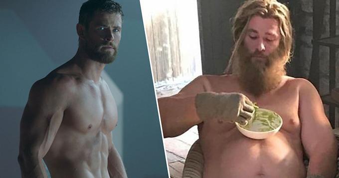 Thor quyến rũ trong Thor 3: Ragnarok (trái) và Thor bụng bia trong Avengers: Endgame.