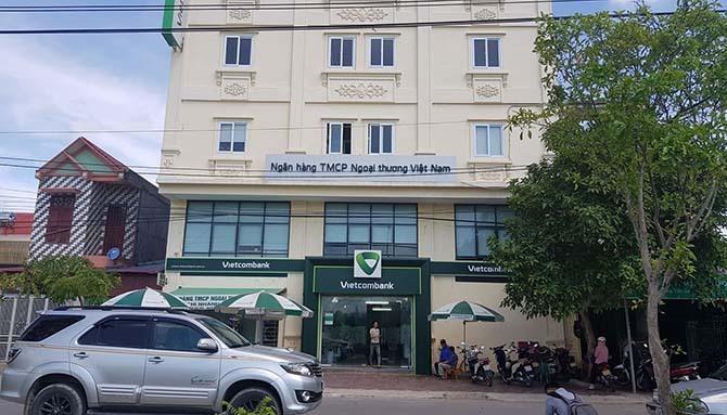 Trụ sở ngân hàng Vietcombank chi nhánh Nghi Sơn nơi xảy ra vụ cướp nổ súng.