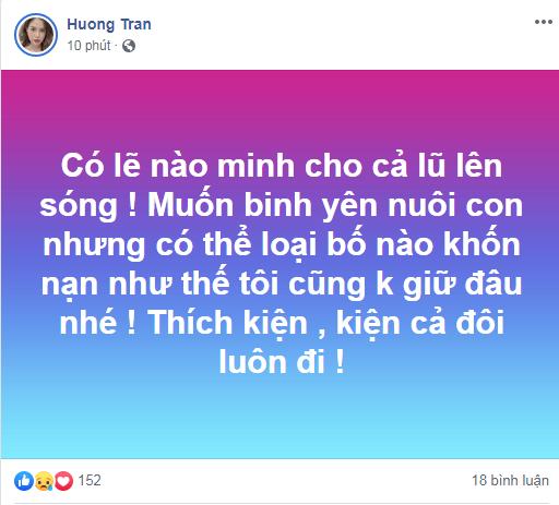 Status của Hương Trần được cho là ám chỉ chồng cũ.