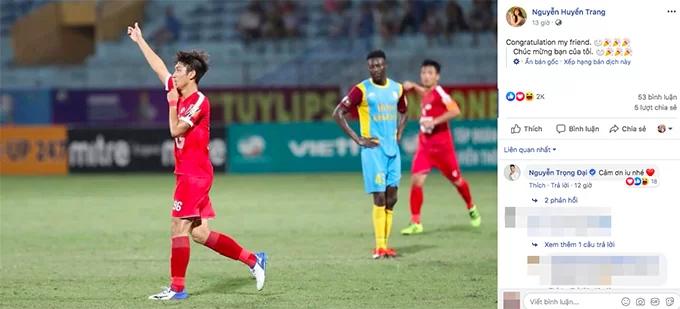 Huyền Trang chúc mừng Trọng Đại sau khi ghi bàn vào lưới Khánh Hoà. Ảnh: FB.