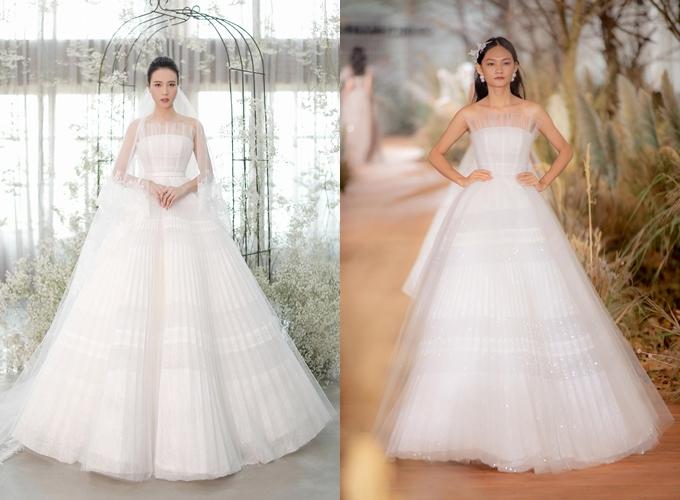 Nhà mốt cho hay Đàm Thu Trang đã tìm đến anh cách đây 3 tháng để cùng trò chuyện, chia sẻ về những chiếc váy cưới trong mơ. Cô kỳ vọng các bộ cánh đều được thực hiện chỉn chu, hoàn hảo. Chung Thanh Phong đóng vai trò thiết kế kiêm cố vấn để Đàm Thu Trang quyết định diện mẫu váy cưới nào phù hợp. Mẫu đầm đầu tiên mà cô dâu diện là 1 thiết kế nằm trong bộ sưu tập I am sunny vừa ra mắt của Chung Thanh Phong đầu tháng 7, được lấy cảm hứng từ ánh nắng rực rỡ nơi miền nam nước Pháp.