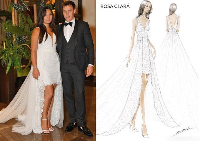 Váy cưới cuối cùng mà cô dâu hoàng gia diện tiếp tục là một thiết kế của Rosa Clará. Bộ váy có sự phá cách trong thiết kế với chân váy mini-skirt, tà phụ dài, được NTK Rosa Clará gọi là chiếc váy độc nhất. Mẫu đầm ren có đường xẻ ngực sâu, được đính kết cườm. Mặt ngoài của thân váy là lớp vải tuyn, tạo nên sự thanh lịch, tinh tế.